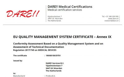 EU MDR certification for Prolira!